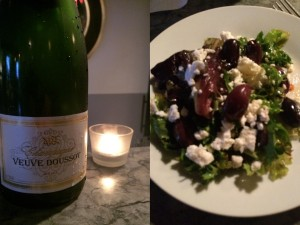 Veuve Doussot and Mixed Green salad with feta, olives and sun-dried tomatoes.