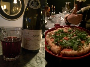 Louis Latour Bourgogne Pinot Noir and Farmer's Pizza with garlic, goat cheese and mushrooms.