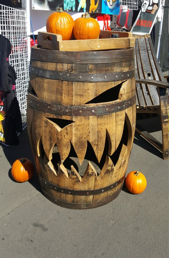 pumpkin, fall, Halloween, oak barrel, jackolantern, jack o' lantern