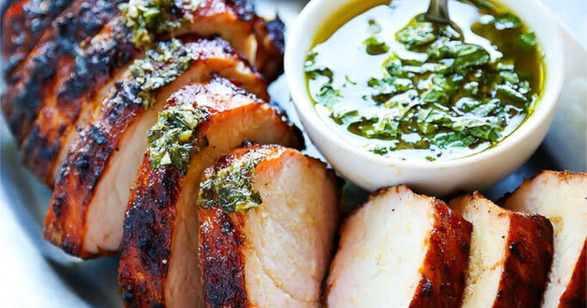 Barbecued Pork Tenderloin with Chimichurri Sauce Recipe |