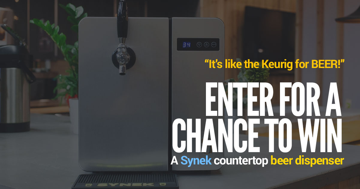 Enter for a chance to win a Synek countertop beer dispenser *CONTEST CLOSED*