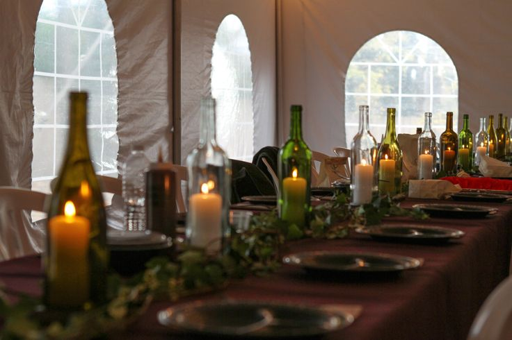 Candle Wine Centerpieces
