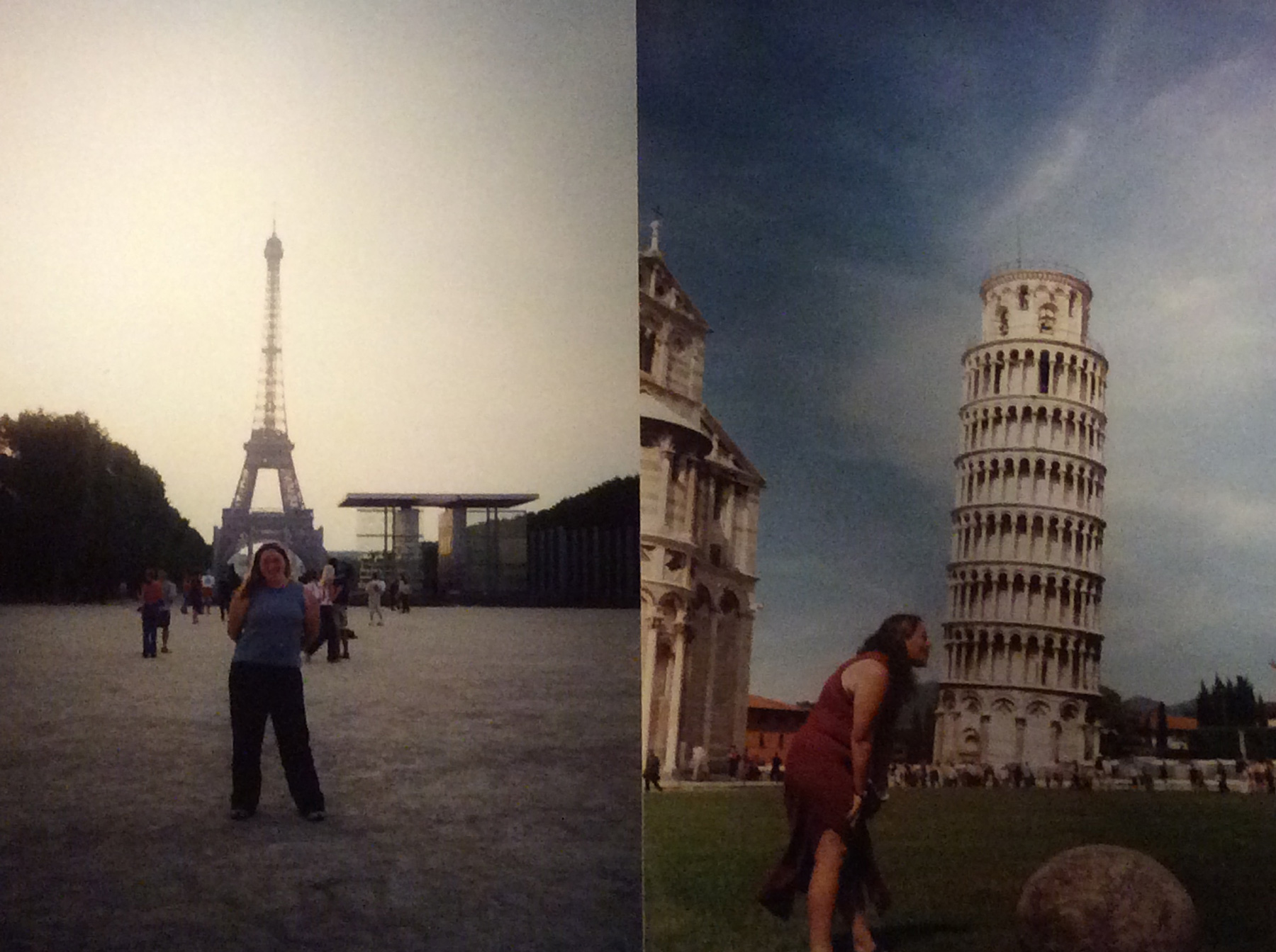 Me at the Eiffel Tower and The Leaning Tower of Pisa