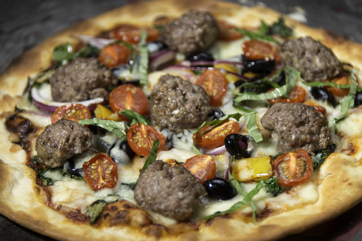 Pizza with Bison Meatballs