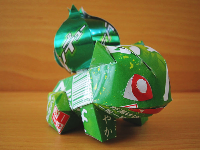 aluminum beer can artwork art with bulbasaur