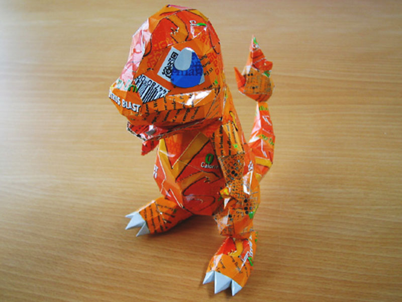 aluminum beer can pokemon art charmander