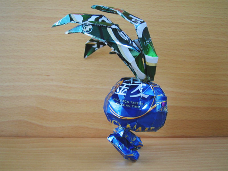 aluminum beer can artwork recycling of oddish pokemon