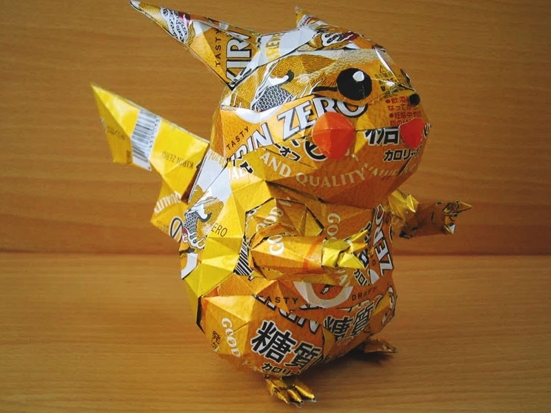 aluminum beer can pokemon creation of pikachu by japanese artist makaon