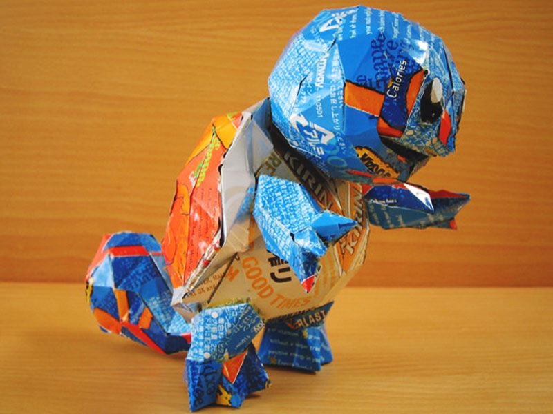 aluminum beer can creation pokemon squirtle by japanese artist makaon