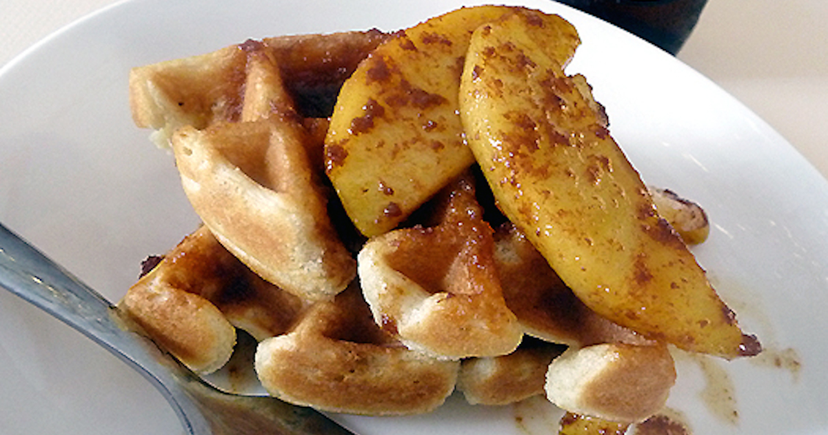 Beer Waffles with Cinnamon-Caramel Apples