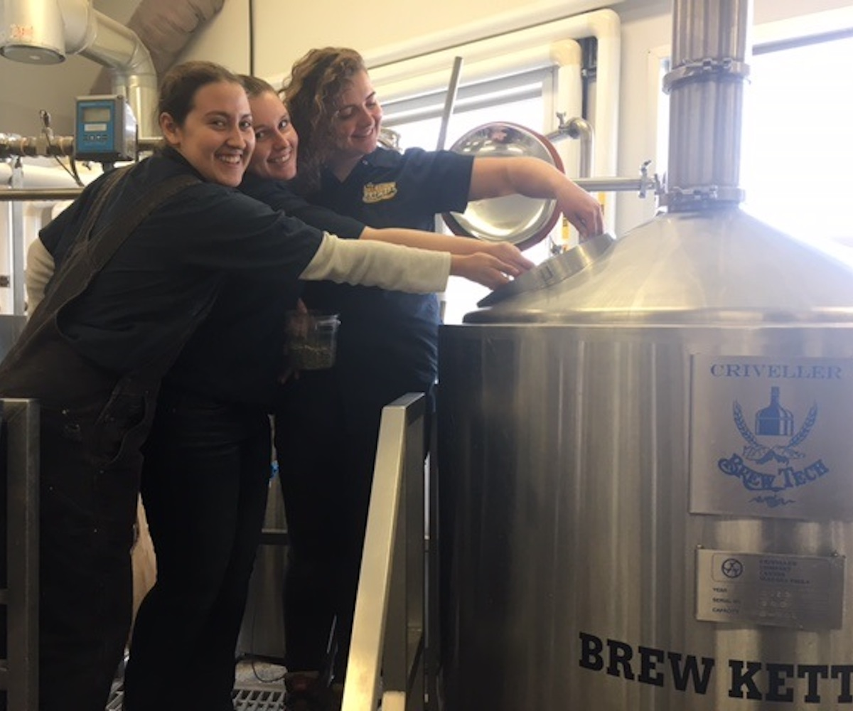 Becca-Emily-and-Zoei-Brewing-the-Big-Boots-Brew-for-Olds-College
