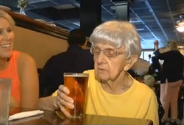 102 year old women drinking beer