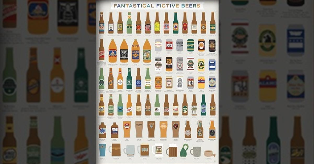 Pop Chart Lab's Fantastical Fictive Beers Poster for Beer, Movie, TV, and Book Lovers