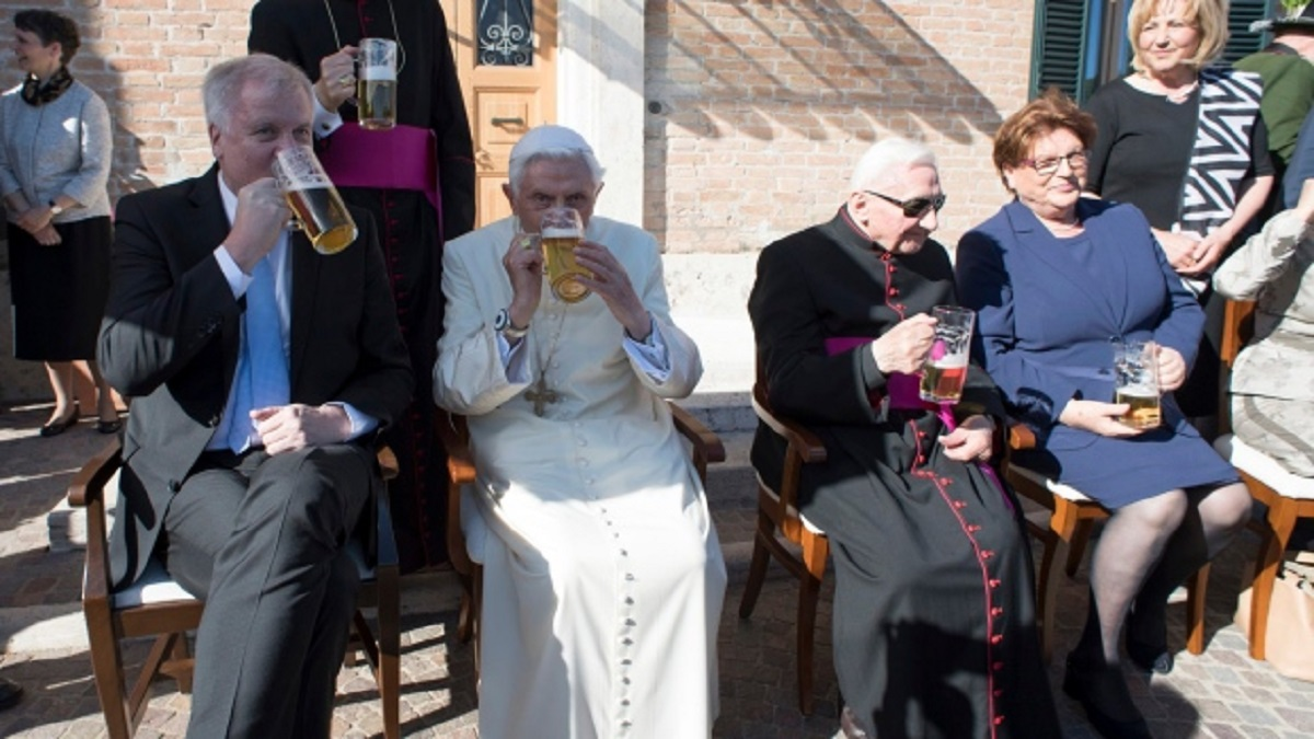 Former Pope, Benedict XVI, Celebrates 90th Birthday with Beer & Friends