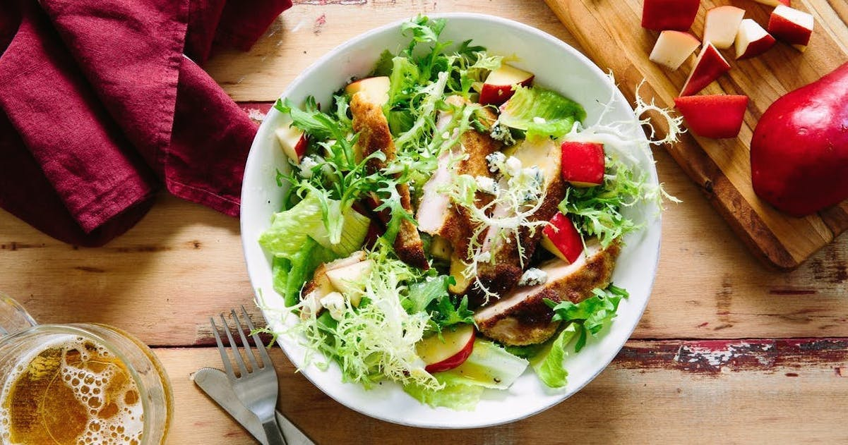 Schnitzel and Pear Salad with Wheat Beer Vinaigrette