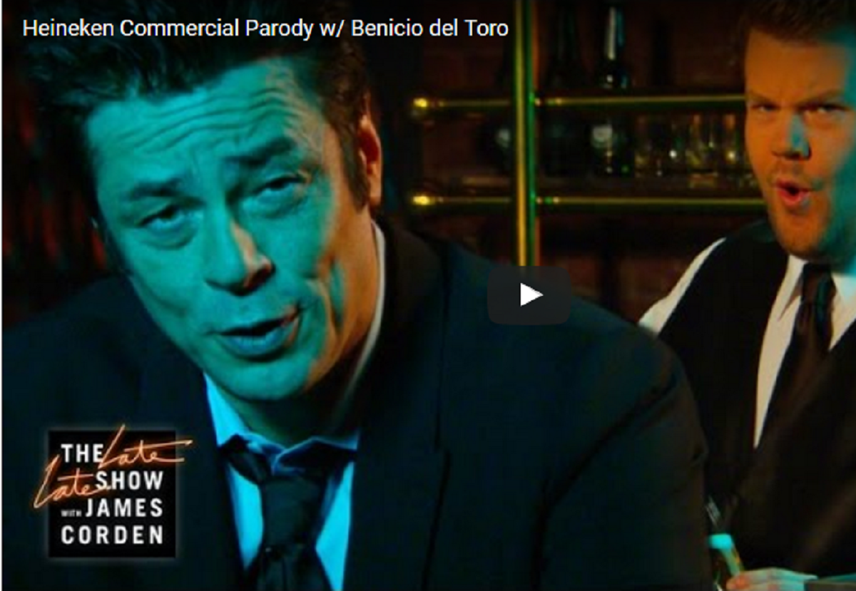 VIDEO: Benicio Del Toro & James Corden's Heineken Commercial Parody