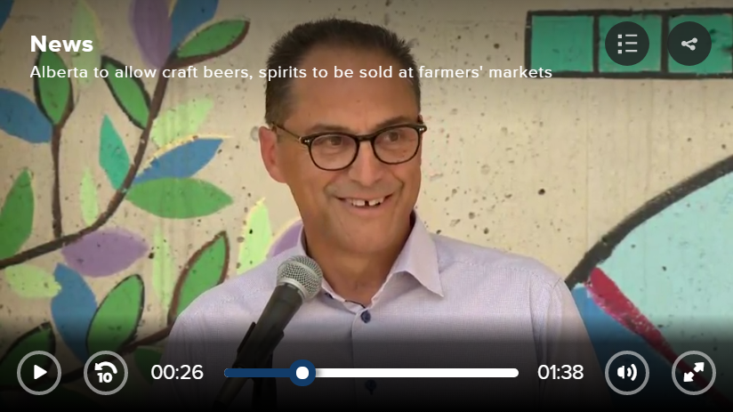 Joe Ceci Announces Craft Beer Will Be Sold in Alberta Farmers' Markets
