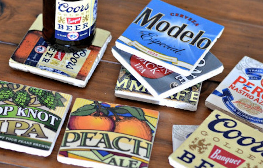 DIY beer label coasters