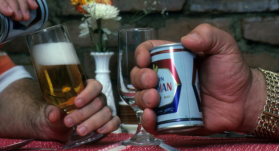 Andre the Giant Minis a Molson Can of Beer