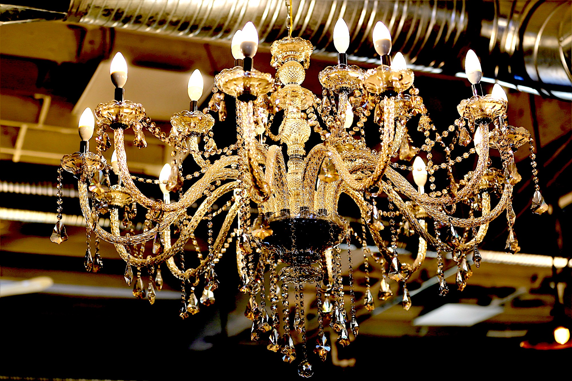 Chandelier at the Commons Calgary. Hemingway Room