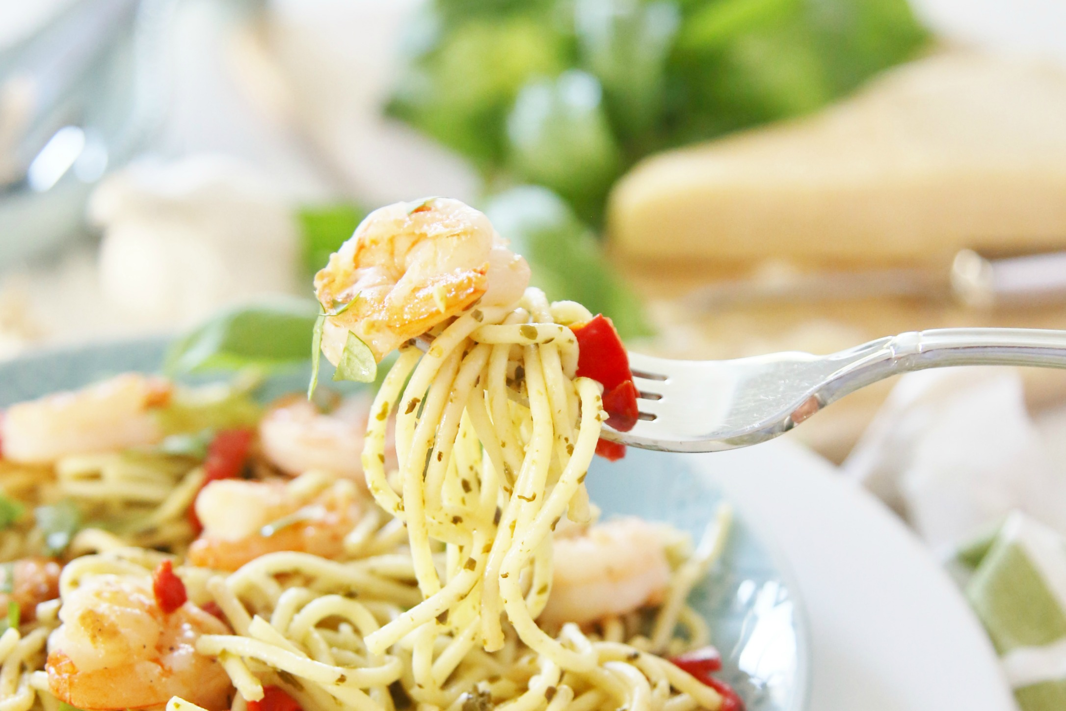 Pesto-Pasta-with-Grilled-Shrimp-and-Roasted-Red-Peppers-
